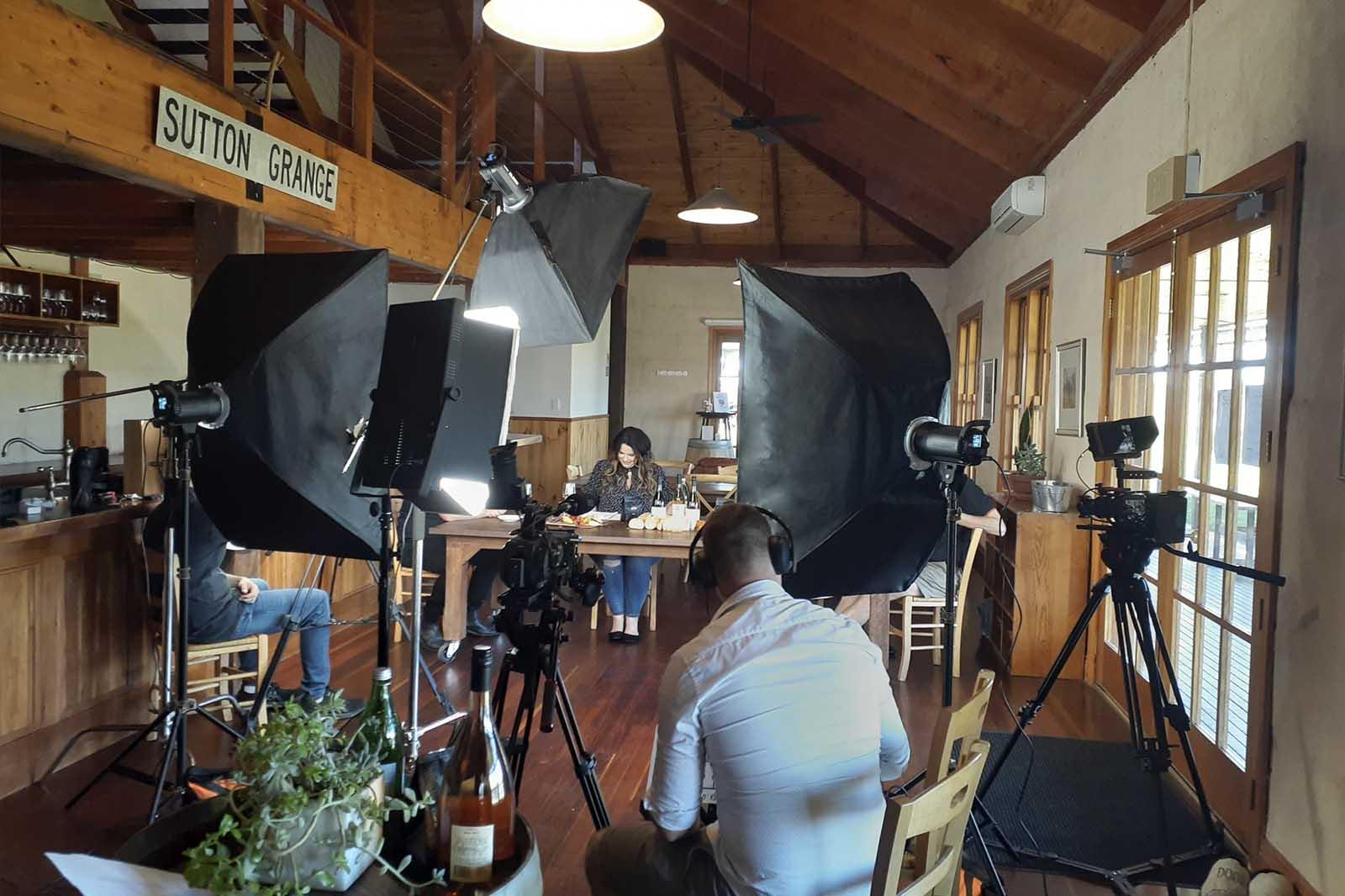 Vid.Co Team at video production set at Sutton Grange in Bendigo