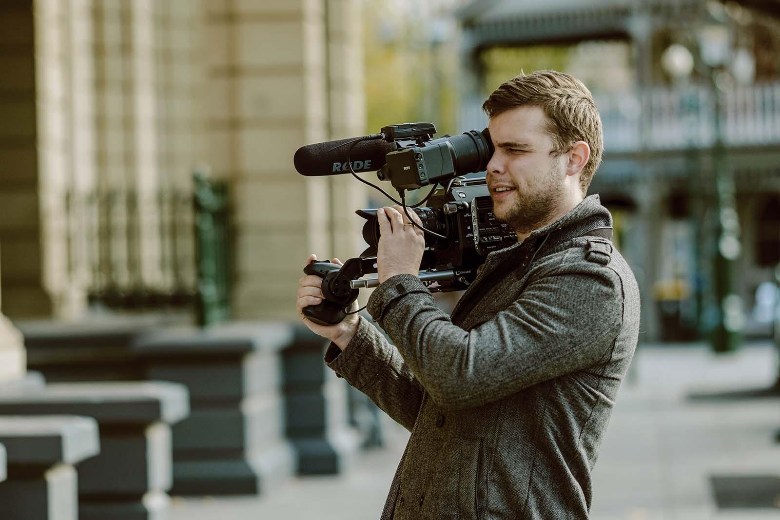 Videographer shooting at Bendigo town hall